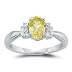 1/10 Ct Diamond & Yellow Sapphire Ring in 18K White Gold