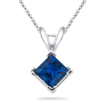 0.67 Cts of 4.5 mm AA Princess Blue Sapphire Solitaire Pendant in 14K White Gold