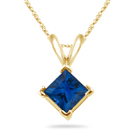0.50 Cts of 4 mm AA Princess Blue Sapphire Solitaire Pendant in 14K Yellow Gold