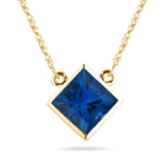 0.67 Cts of 4.5 mm AA Princess Blue Sapphire Solitaire Pendant in 14K Yellow Gold