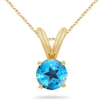 4.70-5.40 Ct 10 mm AA Round Texas Star Swiss Blue Topaz Solitaire Pendant 14KY Gold