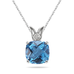 2.30-2.75 Cts of 8 mm AAA Cushion Swiss Blue Topaz Scroll Solitaire Pendant in 14K White Gold