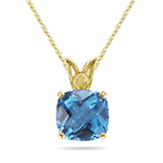 2.30-2.75 Cts of 8 mm AAA Cushion Swiss Blue Topaz Scroll Solitaire Pendant in 14K Yellow Gold