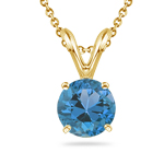 1.40-1.67 Cts Swiss Blue Topaz Solitaire Pendant in 14K Yellow Gold