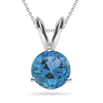4.01 Cts Swiss Blue Topaz Solitaire Pendant in 18K White Gold