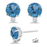 0.06 Ct Diamond & 1.04 Ct Swiss Blue Topaz Earrings in 18K White Gold