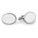 Brite Beaded Edge Oval Men's Cufflinks in Sterling Silver