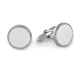 Beaded Border Round Men's Cufflinks in Sterling Silver