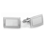 Striped Rectangular Emerald Men's Cufflinks in Sterling Silver