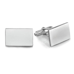 Bordered Rectangular Emerald Men's Cufflinks in Sterling Silver