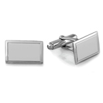 Rectangular Satin Finished Emerald Men's Cufflinks in Sterling Silver