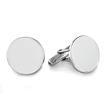 Shinny Round Men's Cufflinks in Sterling Silver