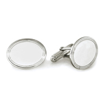 Striped Border Oval Men's Cufflinks in Sterling Silver