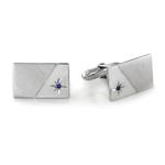 Blue Sapphire Cufflinks in Sterling Silver