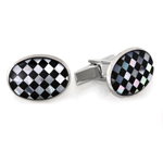 Sterling Silver Onyx & Mother of Pearl Checkered Cuff Links
