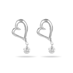 0.05-0.10 Cts  SI2 - I1 clarity and I-J color Diamond Open Heart Dangling Earrings in 18K White Gold