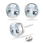8.02 Ct Sky Blue Topaz Stud Earrings in Platinum