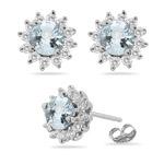 0.72 Ct Diamond &  5.86 Ct Sky Blue Topaz Earrings in 18K White Gold