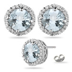 0.43 Ct Diamond &  4.24 Ct Sky Blue Topaz Earrings in Platinum