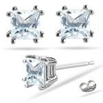 5.66 Ct Sky Blue Topaz Stud Earrings in Platinum