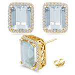 0.48 Ct Diamond &  11.78 Ct Sky Blue Topaz Earrings in 14K Yellow Gold