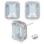 0.42 Ct Diamond &  6.48 Ct Sky Blue Topaz Earrings in 18K White Gold