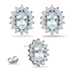 0.96 Ct Diamond &  7.94 Ct Sky Blue Topaz Earrings in 14K White Gold
