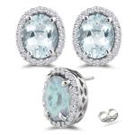 0.45 Ct Diamond &  12.48 Ct Sky Blue Topaz Stud Earrings in 14K White Gold