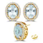 0.39 Ct Diamond &  7.94 Ct Sky Blue Topaz Stud Earrings in 14K Yellow Gold