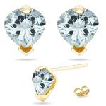 2.84 Ct Sky Blue Topaz Stud Earrings in 14K Yellow Gold