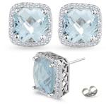 0.30 Ct Diamond &  1.78 Ct Sky Blue Topaz Earrings in 14K White Gold