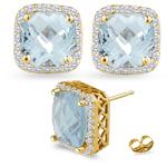0.42 Ct Diamond &  5.86 Ct Sky Blue Topaz Earrings in 14K Yellow Gold