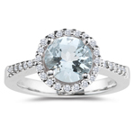 0.20 Cts Diamond & 1.14 Cts Sky Blue Topaz Ring in 14K White Gold