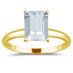 0.33 Cts Diamond & 6.87 Cts Sky Blue Topaz Three Stone Ring in 18K Yellow Gold
