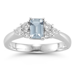 0.60 Cts Diamond & 6.87 Cts Sky Blue Topaz Ring in Platinum
