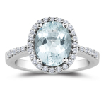 0.30 Cts Diamond & 5.35 Cts Sky Blue Topaz Ring in Platinum