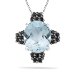 0.51 Cts Black Diamond & 7.00 Cts Sky Blue Topaz Pendant in Silver