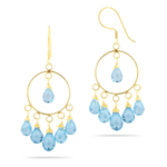 12.50 Cts Sky Blue Topaz Earrings in 18K Yellow Gold