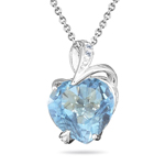 0.02 Ct Diamond & 4.60 Ct Sky Blue Topaz Heart Pendant- 14K White Gold