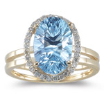 0.15 Ct Diamond & Sky Blue Topaz Ring in 14K Yellow Gold