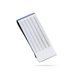 Striped Rectangular Fashion Engine Turned Money Clip - Sterling Silver