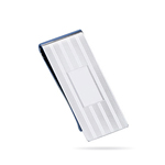 Striped Rectangle-Center Engine Turned Money Clip in Sterling Silver