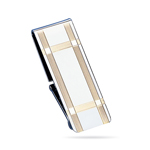Hinged Striped Border Money Clip  in Sterling Silver with Gold Accents