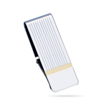 Hinged Striped Money Clip in Sterling Silver with Gold Accents