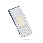Striped Rectangle Center Two-Tone Money Clip-Sterling Silver/18KY Gold