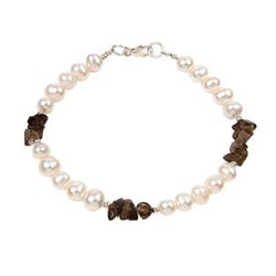 Cultured Pearl & Smokey Quartz Bracelet in Silver