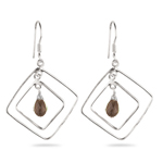 Smokey Quartz Briolette Earrings in Sterling Silver
