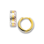 Tri Color Snuggable Diamond-Cut Earrings in 14K Three Tone Gold