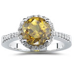 0.22 Cts Diamond & 2.88 Cts Sphene Ring in 14K White Gold
