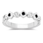 0.20 Cts Black & White Diamond Filigree Stack Band in 14K White Gold